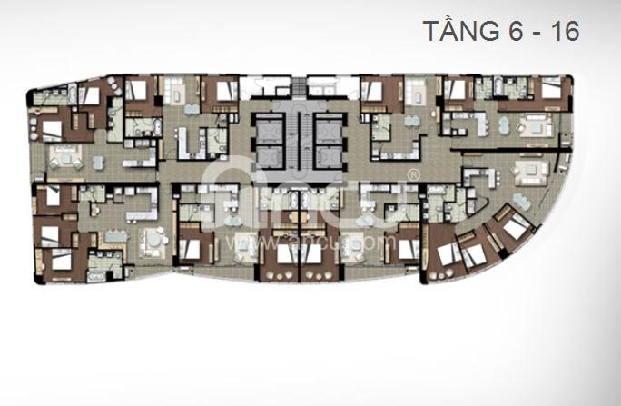 thiết kế mặt bằng căn hộ chung cư Watermark Hồ Tây