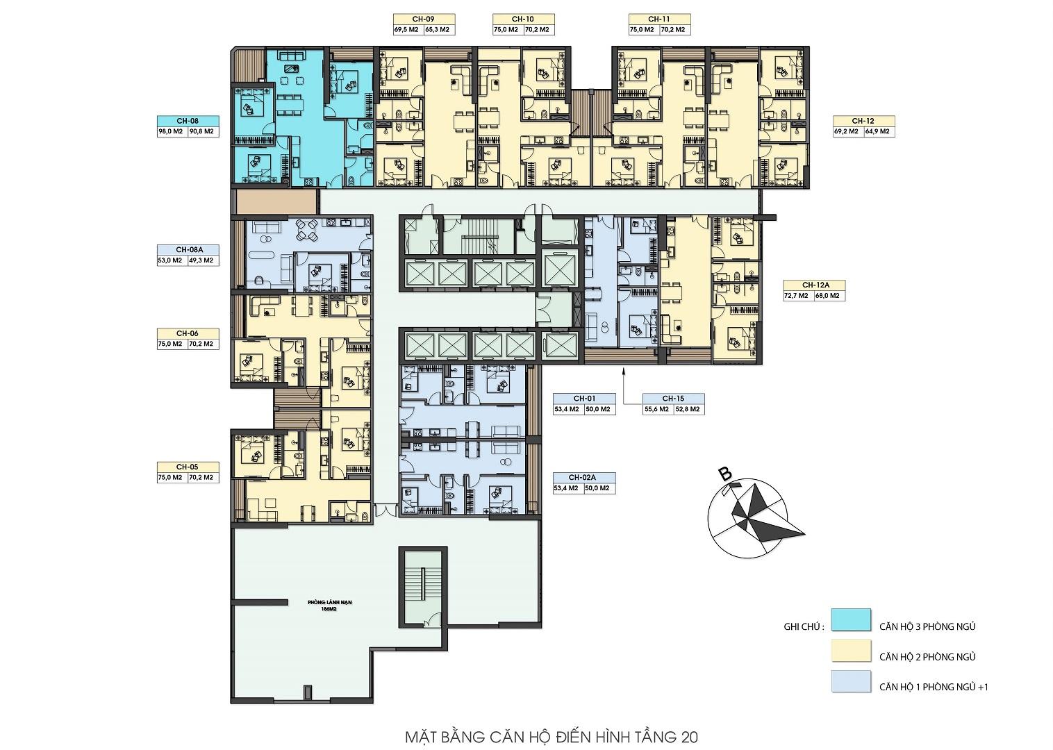 mặt bằng chung cư green diamond hạ long tầng 20