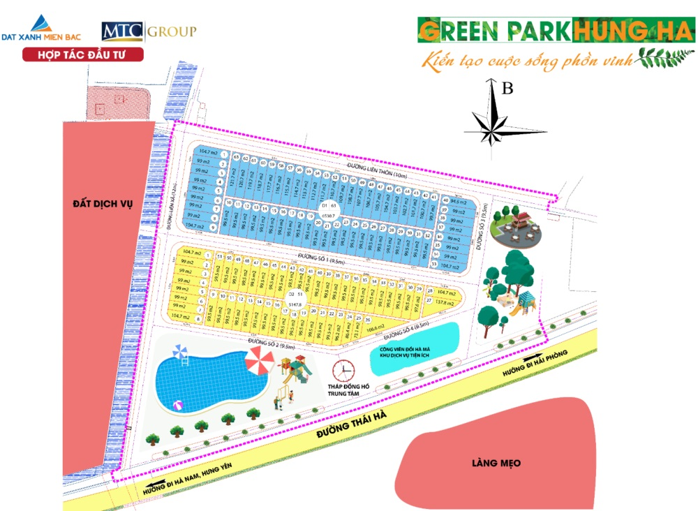 mặt bằng dự án green park hưng hà