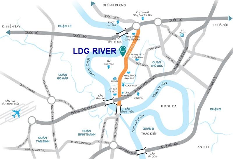 vị trí dự án căn hộ ldg river