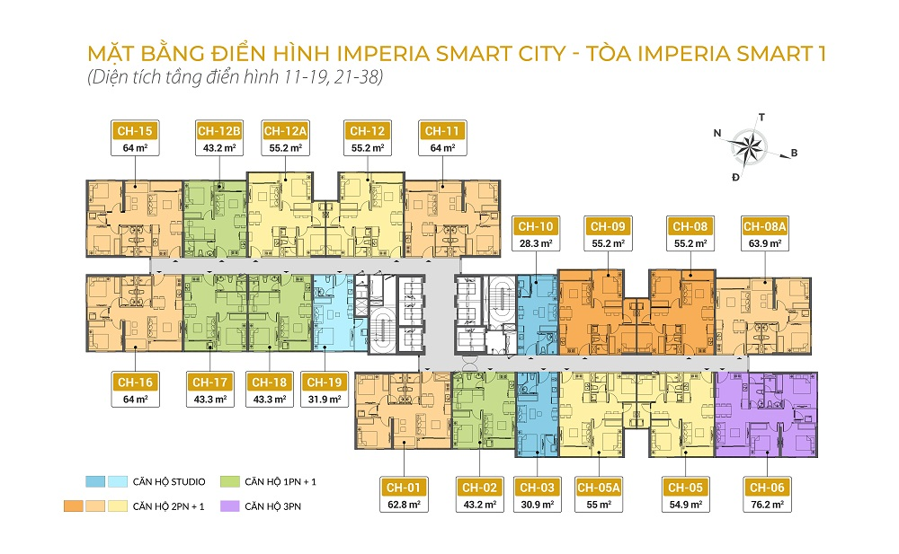 mặt bằng chung cư imperia smart city tòa IS1 tầng 11-19 21-38