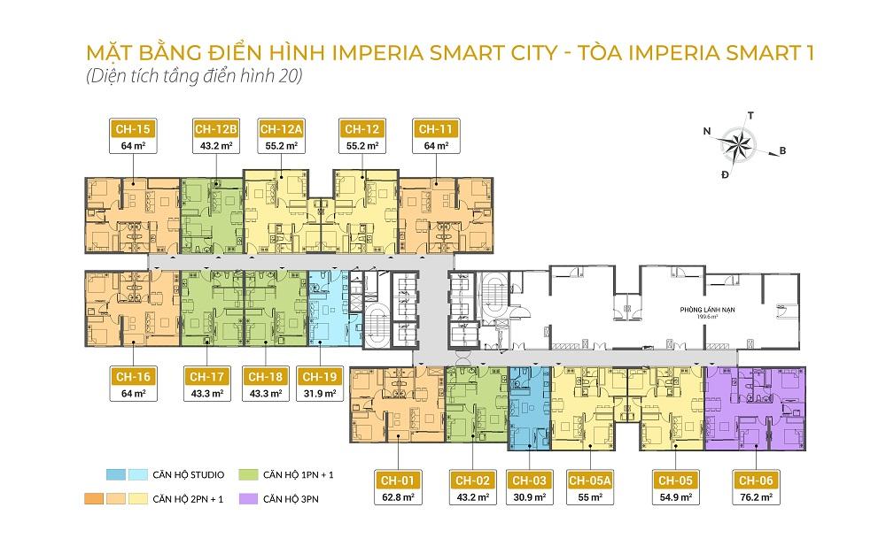 mặt bằng chung cư imperia smart city tòa IS1 tầng 20