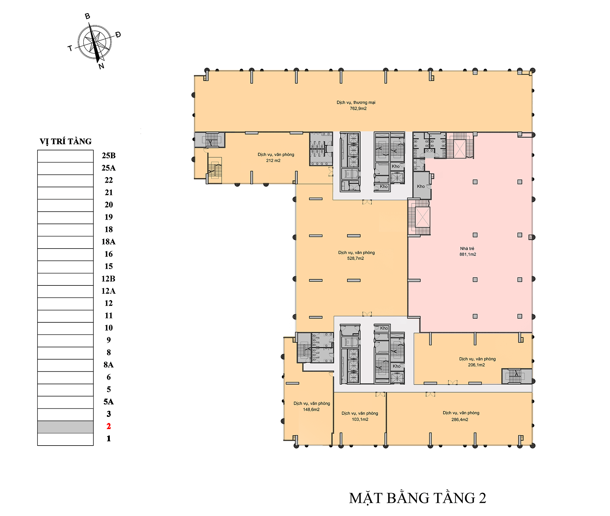 mặt bằng tầng 2 chung cư florence tower
