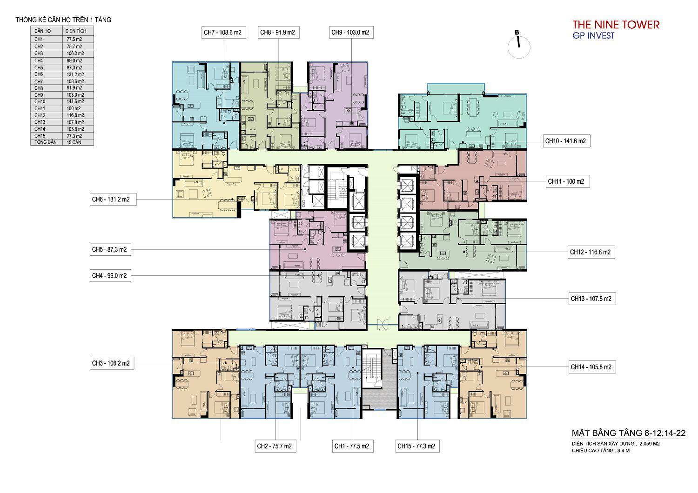 mặt bằng dự án the nine tower tầng 8-22
