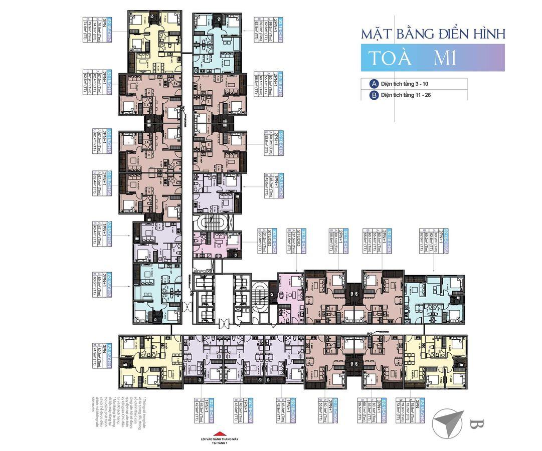 mặt bằng chung cư masteri waterfront tòa m1