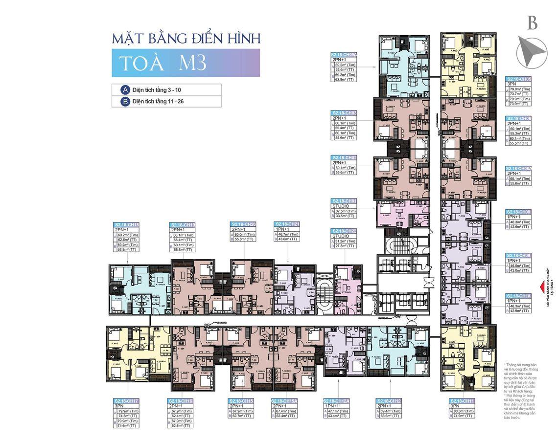 mặt bằng chung cư masteri waterfront tòa m3