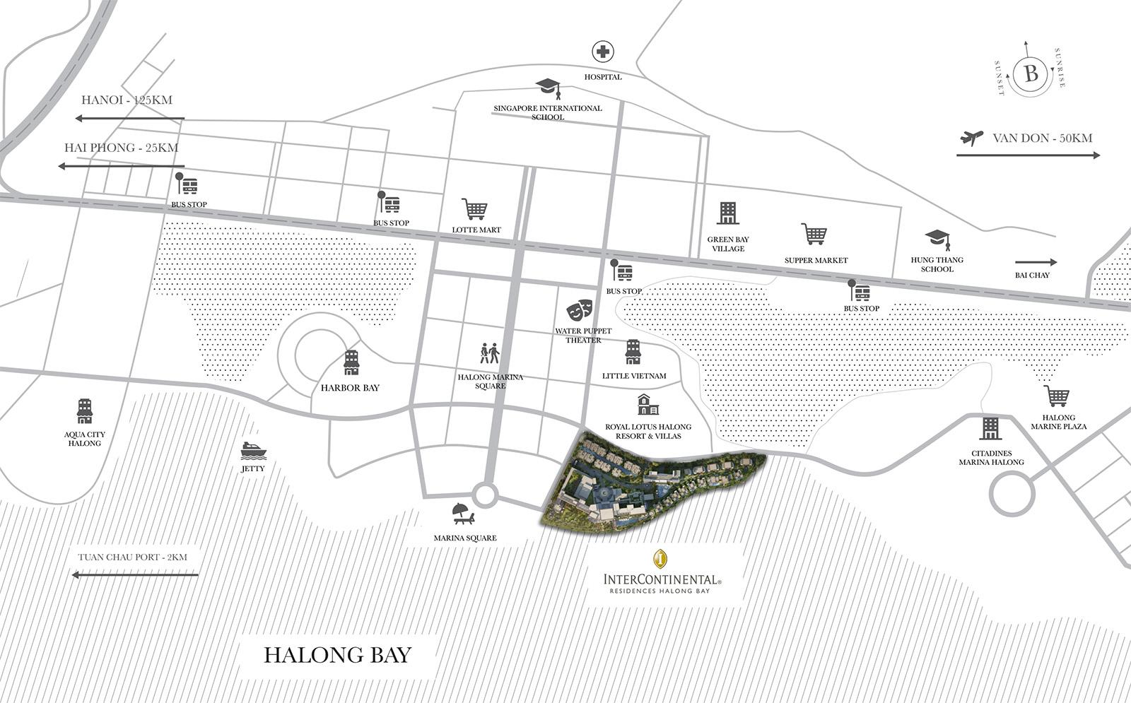 vị trí dự án intercontinental hạ long bay resort & residences