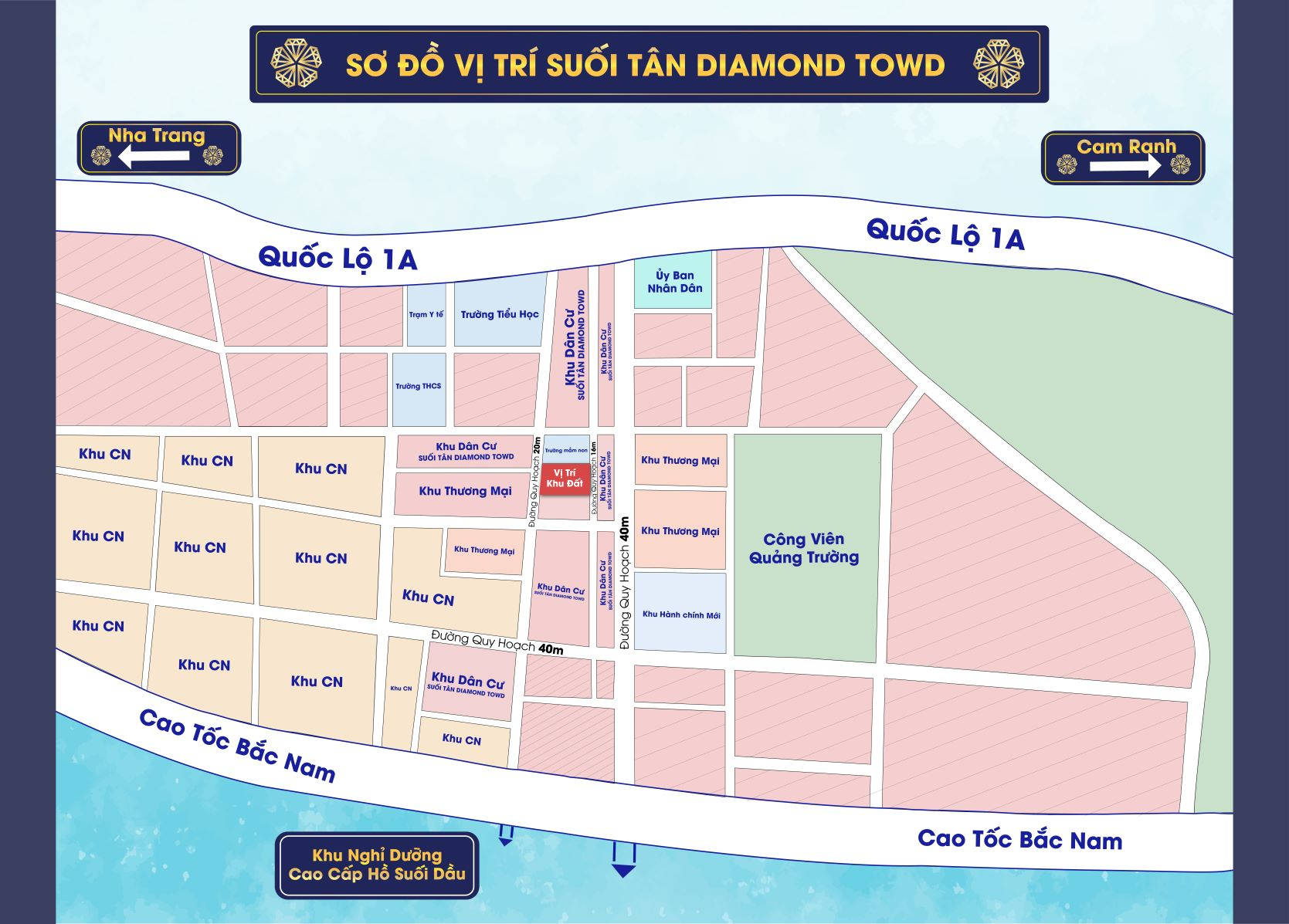 vị trí dự án suối tân diamond town