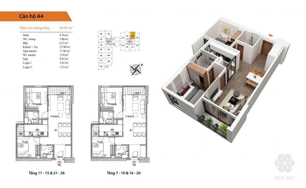 thiết kế chung cư bea sky căn hộ a4