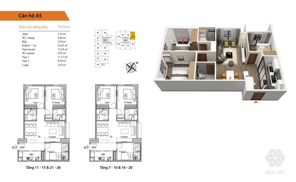 thiết kế chung cư bea sky căn hộ a5