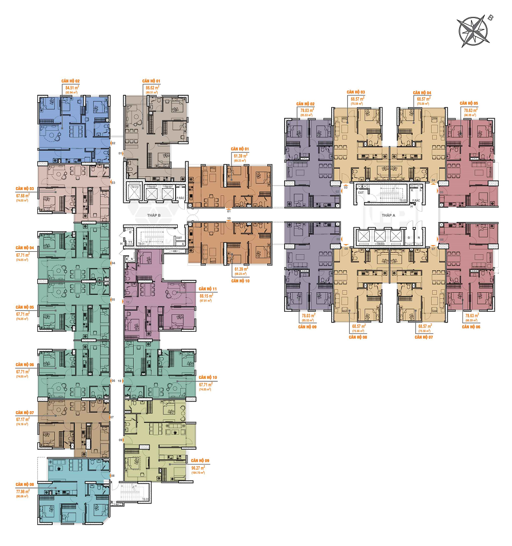 mặt bằng chung cư bea sky tầng 7 – 10 và 16 – 20
