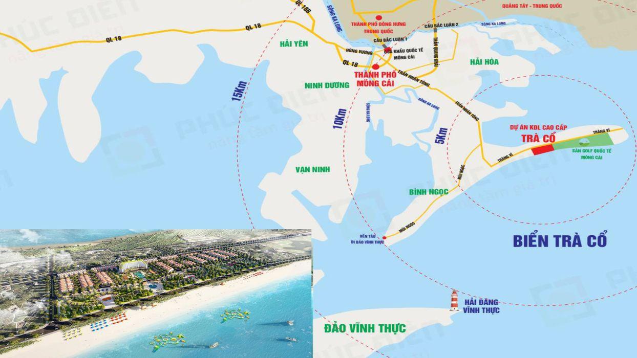 vị trí dự án trà cổ long beach luxury